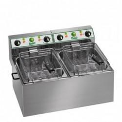 Friggitrice elettrica doppia vasca 4+4 Lt – 2.5 + 2.5 Kw.