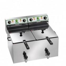 Friggitrice elettrica doppia vasca 10+10 Lt con rubinetto di scarico – 6+6 Kw.