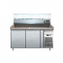 Banco pizza refrigerato con piano in granito e vetrina portacondimenti (Gn 1/4). Cm. 151