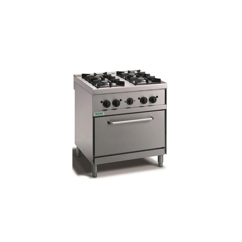 Cucina a gas 4 fuochi su forno elettrico a convezione. 80x70x90H.