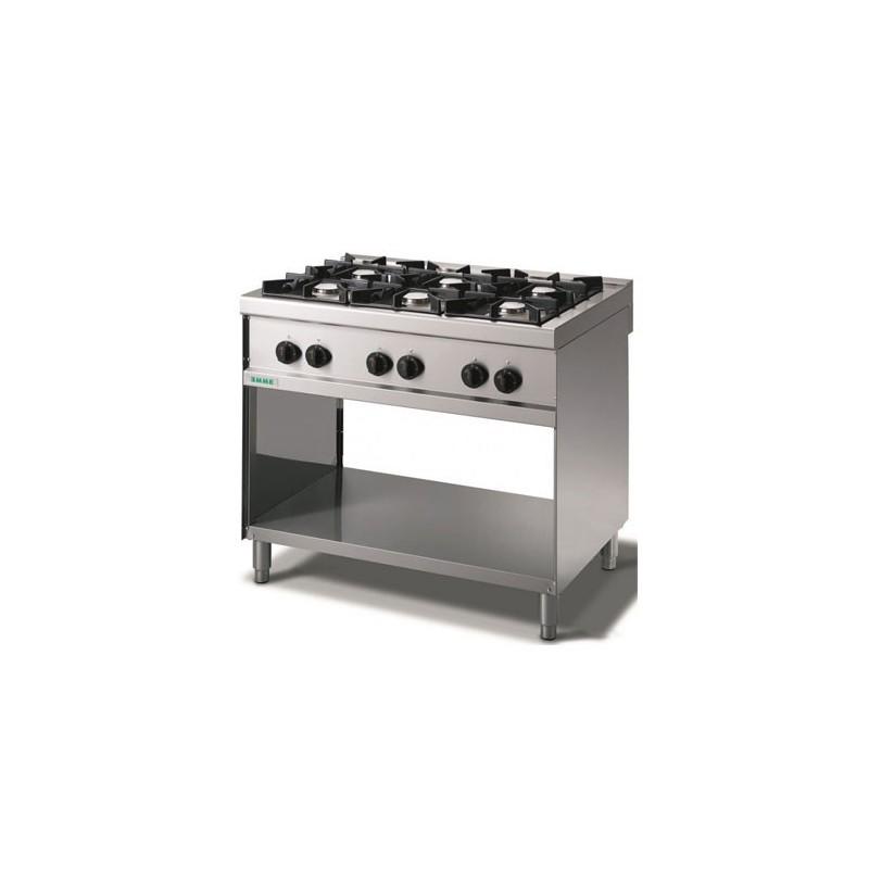 Cucina a gas 6 fuochi su vano a giorno. 100x70x90H.