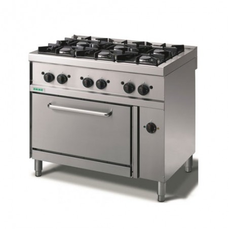 Cucina a gas 6 fuochi su forno elettrico a convezione. 100x70x90H.