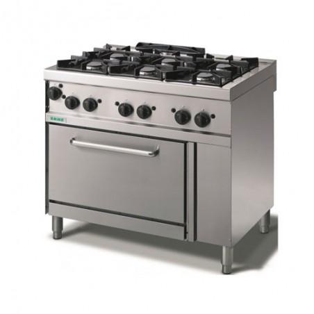 Cucina a gas 6 fuochi su forno a gas statico. 100x70x90H.