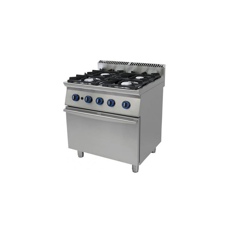 Cucina a gas 4 fuochi su forno a gas a convezione. 80x70x90H.