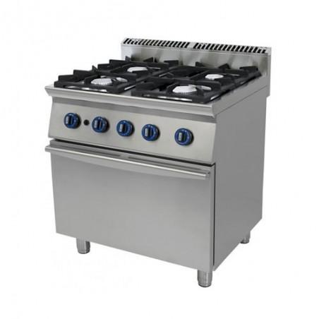 Cucina a gas 4 fuochi su forno a gas a convezione. 80x70x90H. professionale