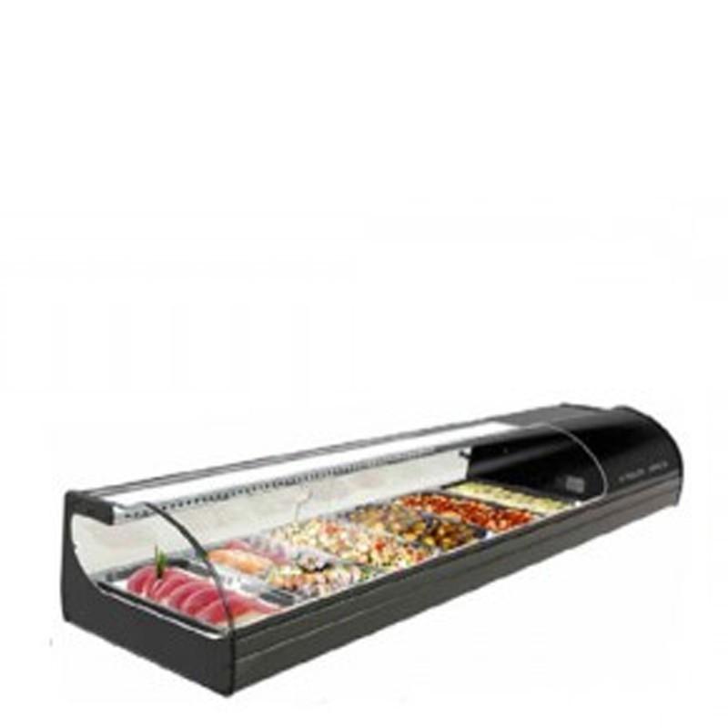 Vetrina Refrigerata da banco Sushi. Capacità 6 GN 1/3. Temp. +1°/+6°C.