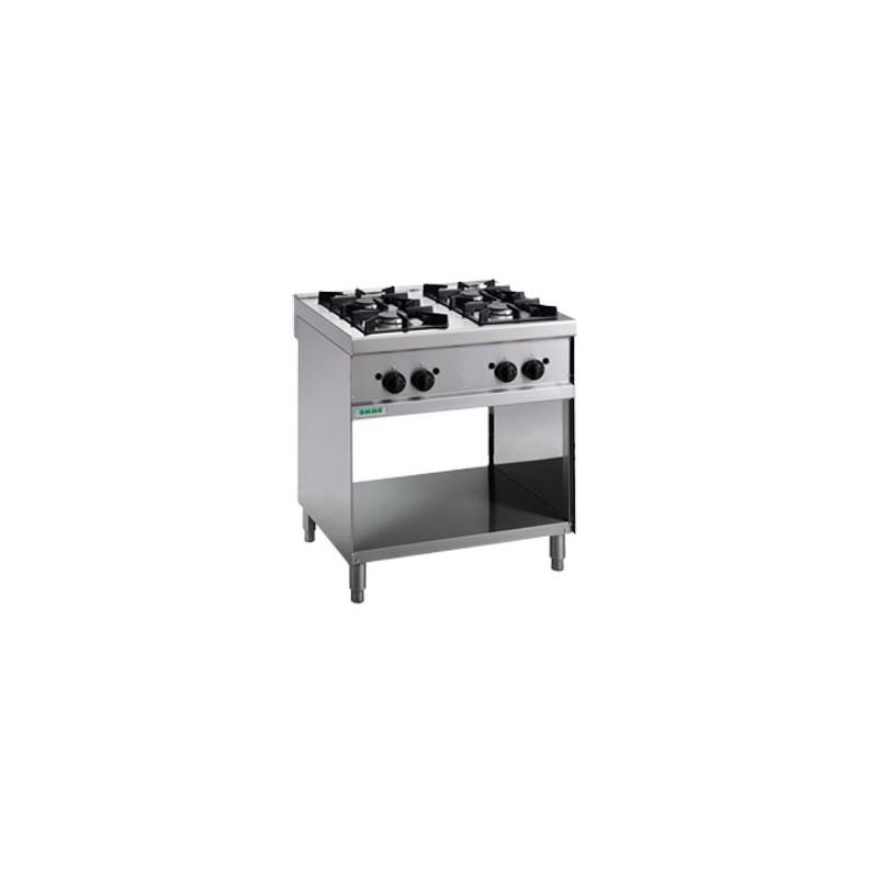 Cucina a gas 4 fuochi su vano a giorno. 80x70x90H.