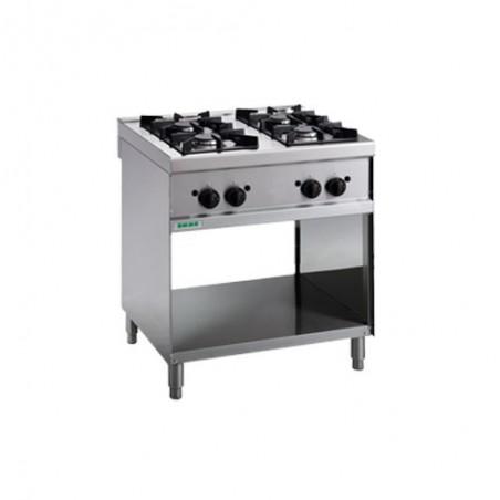 Cucina a gas 4 fuochi su vano a giorno. 80x70x90H. professionale