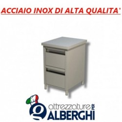 Cassettiera in acciaio inox 2 cassetti Prof. 60 • LINEA ECO