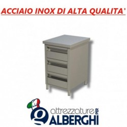 Cassettiera in acciaio inox 3 cassetti Prof. 60 • LINEA ECO