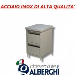 Cassettiera in acciaio inox 2 cassetti Prof. 70 • LINEA ECO