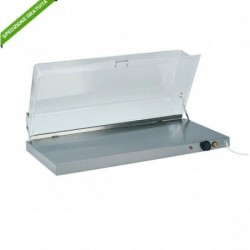Piano caldo inox con cupola plexiglass. Temp. +30°/+90°C. Cm. 90x45x20h.