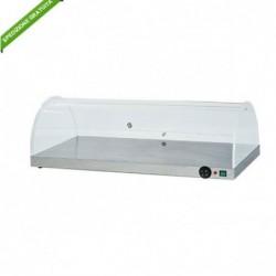 Piano caldo inox con cupola plexiglass semicilindrica. Temp. +30°/+90°C. Cm. 100x50x30h.