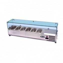 Vetrina refrigerata portacondimenti per pizza cm. 140 Con castello vetri protettivo