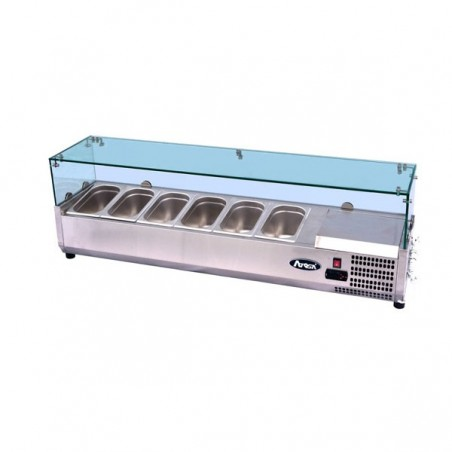 Vetrina refrigerata portacondimenti per pizza cm. 120 Con castello vetri protettivo professionale