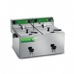 Friggitrice elettrica doppia vasca 8 + 8 Lt – 2.5 + 2.5 Kw.