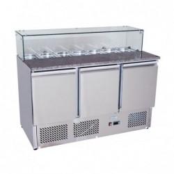 Banco pizza refrigerato con piano in granito e vetrina portacondimenti (Gn 1/3). Cm. 140 – Cm. 136,5x70x112H.
