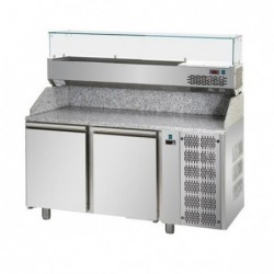 Banco pizza refrigerato con piano in granito e vetrina portacondimenti cm. 160