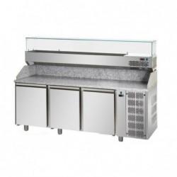 Banco pizza refrigerato con piano in granito e vetrina portacondimenti cm. 200