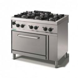 Cucina a gas 6 fuochi con fiamma pilota su forno a gas GN2/1. 100x70x90H cm.