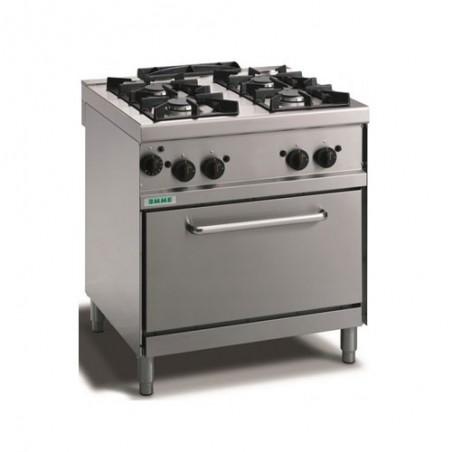 Cucina a gas 4 fuochi con fiamma pilota su forno gas statico GN 1/1. 80x70x90H cm. professionale