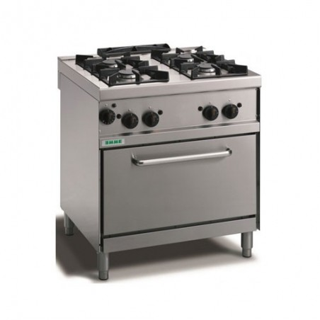 Cucina a gas 4 fuochi con fiamma pilota su forno elettrico GN 1/1. 80x70x90H cm. professionale