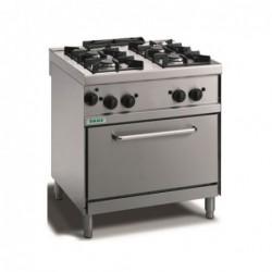 Cucina a gas 4 fuochi con fiamma pilota su forno elettrico GN 2/1. 80x70x90H cm.