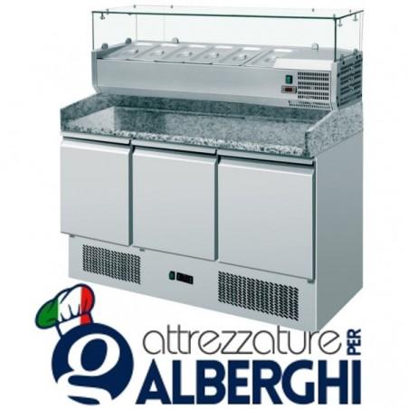Banco pizza 3 sportelli refrigerato con piano in granito e vetrina portacondimenti 6xGN1/4 professionale