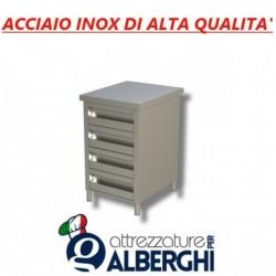 Cassettiera in acciaio inox 4 cassetti Prof. 60 • LINEA ECO