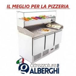 Banco pizza Saladette Tavolo 3 sportelli refrigerato con piano in granito – vetrina portacondimenti 6xGN1/4