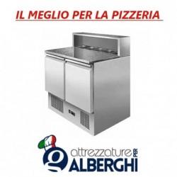 Banco pizza Saladette Tavolo 2 sportelli refrigerato con piano in granito – vetrina portacondimenti 5xGN1/6