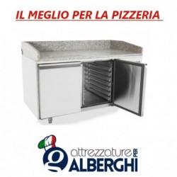 Banco pizza 2 porte acciaio inox con piano in granito