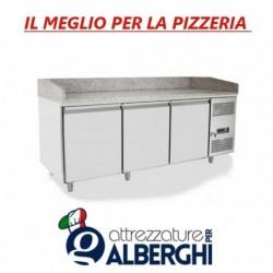 Banco pizza refrigerato con piano in granito e vetrina portacondimenti cm 201