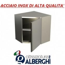 Pensile ad angolo in acciaio inox con porta battente – 1 Ripiano intermedio – H.cm. 65 • LINEA ECO
