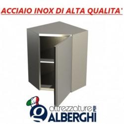 Pensile ad angolo in acciaio inox con porta battente – 1 Ripiano intermedio – H.cm. 80 • LINEA ECO