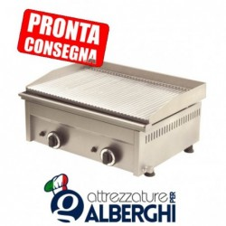 Fry Top a gas in acciaio inox Piastra rigata 600x450x275h mm