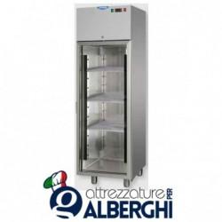 Armadio Refrigerato monoblocco in Acciaio Inox  temperatura 0/+10°C con porta in vetro e luce Neon interna 400 litri