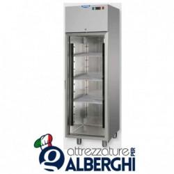 Armadio congelatore monoblocco in Acciaio Inox a bassa temperatura -18/-22°C 400 litri con porta in vetro e luce neon interna