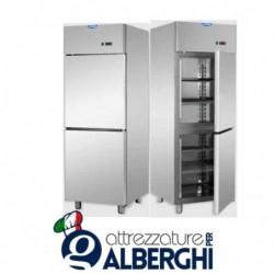 Armadio refrigerato 600 litri in Acciaio Inox predisposto per unità frigorifera remota temperatura 0/+10°C con 2 sportelli