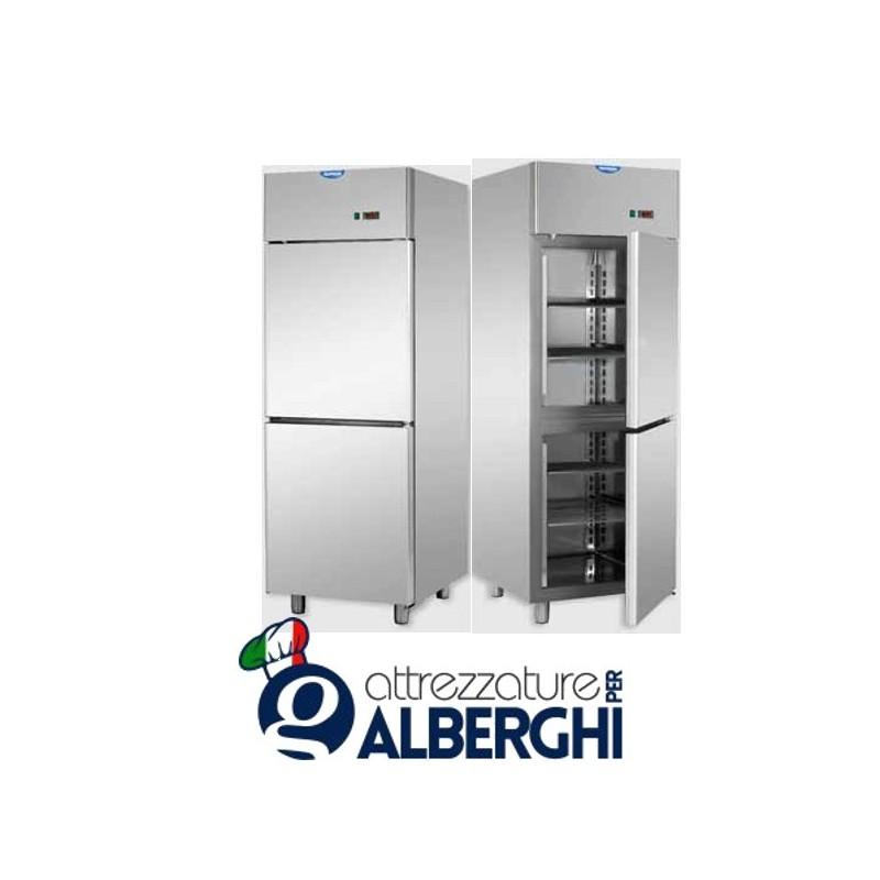 Armadio congelatore 600 litri in Acciaio Inox predisposto per unità frigorifera remota temperatura -18/-22°C con 2 sportelli
