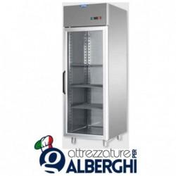 Armadio refrigerato 600 litri monoblocco in Acciaio Inox temperatura 0/+10°C con porta in vetro e luce neon interna