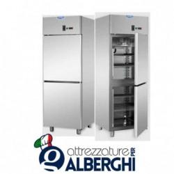 Armadio refrigerato statico 600 litri monoblocco in Acciaio Inox temperatura 0/+10°C con 2 sportelli