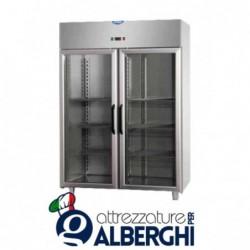 Armadio refrigerato 1200 litri monoblocco in Acciaio Inox temperatura 0/+10°C con 2 porte in vetro e luce neon interna