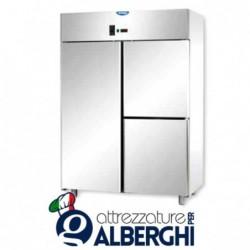 Armadio refrigerato statico 1200 litri monoblocco in Acciaio Inox temperatura 0/+10°C con 1 porta e 2 sportelli