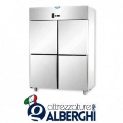 Armadio refrigerato statico 1200 litri monoblocco in Acciaio Inox temperatura 0/+10°C con 4 sportelli