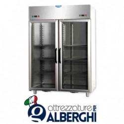 Armadio combinato refrigerato 1200 litri monoblocco in Acciaio Inox doppia temperatura TN+TN 0/+10°C con 2 porte  in vetro e luc