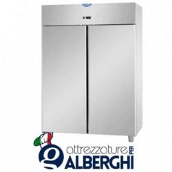 Armadio congelatore 1200 litri monoblocco in Acciaio Inox predisposto per unità frigorifera remota temperatura -18/-22°C con 2 p