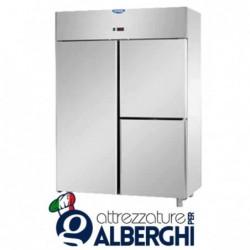 Armadio congelatore 1200 litri monoblocco in Acciaio Inox predisposto per unità refrigerata remota temperatura -18/-22°C con 1 p
