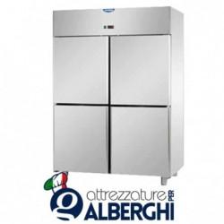 Armadio congelatore 1200 litri monoblocco in Acciaio Inox predisposto per unità frigorifera remota temperatura -18/-22°C con 4 s