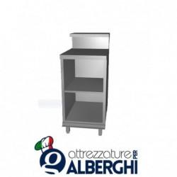 Banco bar neutro acciaio inox aperto con bancalina e ripiano intermedio